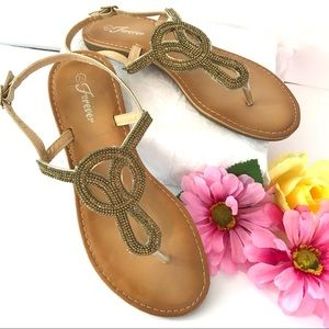 FOREVER Sandals Shoes Gold Beaded Size 7.5 Flats